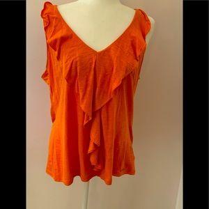 Michael Kors tangerine ruffled top, size XL